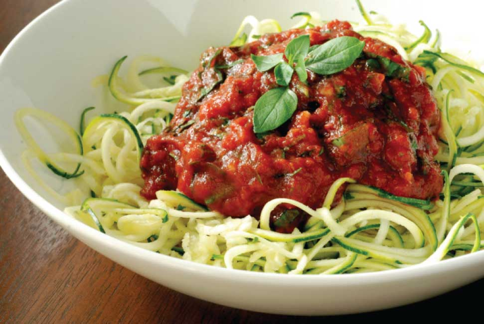 Bowl of zucchini noodles with Marinara sauce